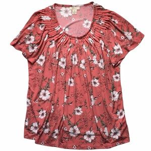 Style & Co Floral Print Pleated Neck Top 1X